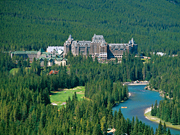Fairmont Banff Springs - Hotel surrounded by lush forest overlooking the Bow Valley