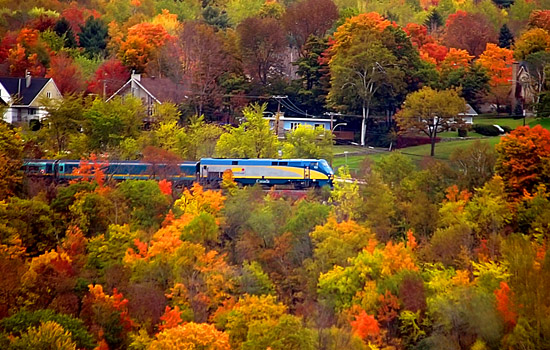 VIA Rail's 'Corridor' train travelling through the Quebes countryside