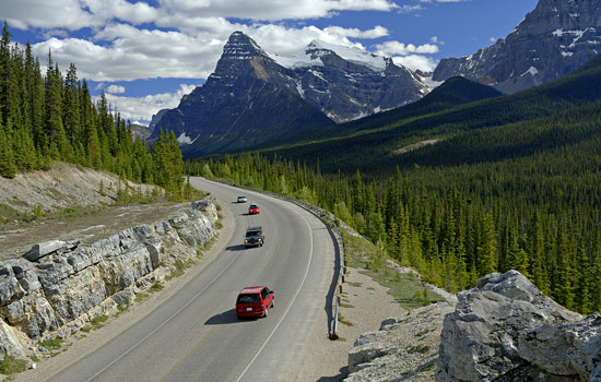 The Icefields Parkway journeys through Jasper and Banff national Parks
