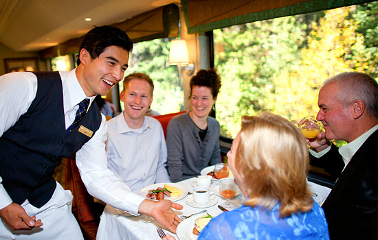 Breakfast service onboard the Rocky Mountaineer
