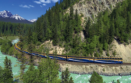 The Rocky Mountaineer train enroute to the Rockies