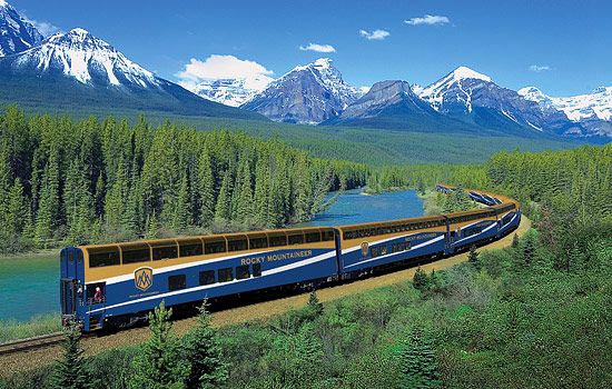 The Rocky Mountaineer train heading to the Rockies