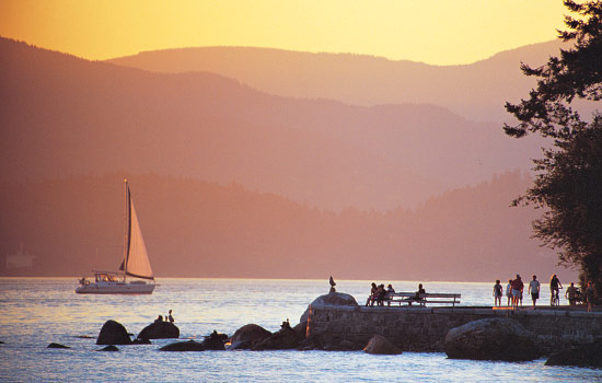 Sunset over Stanley Park in Vancouver