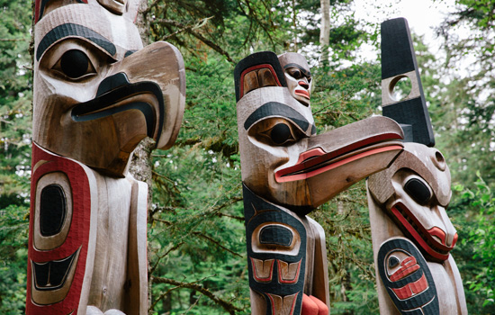 Totem poles in Kitselas Canyon, British Columbia