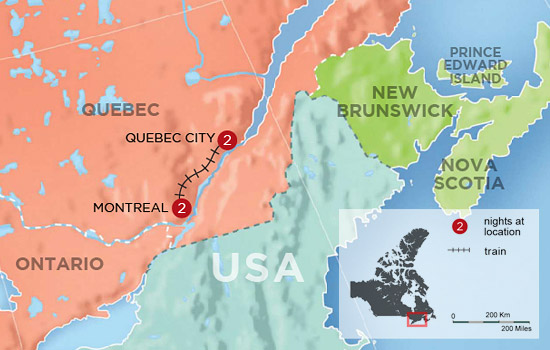Montreal and Quebec City Getaway by Rail - Map