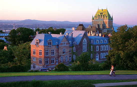 Chateau Frontenac and distant views of Quebec City
