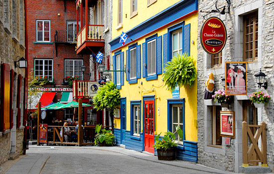 A quaint and colourful street in the historic French Canada
