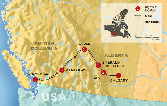 Rockies by Rail Mountain Adventure - Map