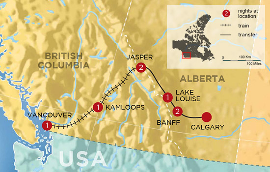 Canadian Rockies by Rail - Map