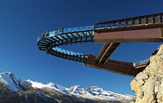 Experience a thrill stepping out onto the glass floor of the Glacier Skywalk.