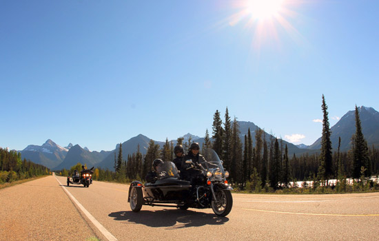 Join an experienced guide on a motorcycle sidecar tour of Jasper National Park.