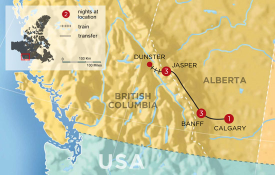 Canadian Rockies Discovery Tour - Map