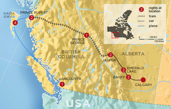 Haida Gwaii and the Canadian Rockies - Map
