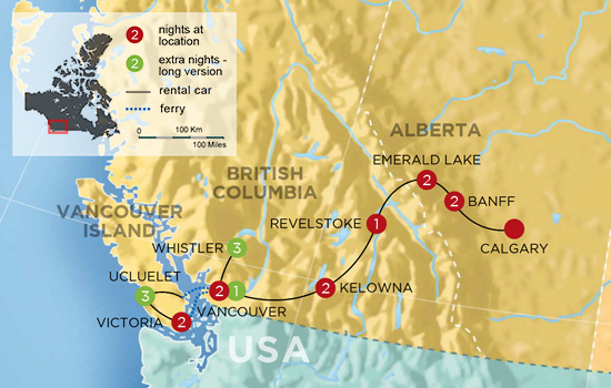 Canadian Rockies to Rainforest Vacation – Map
