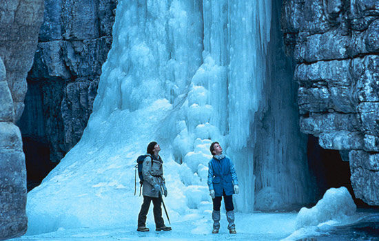 Couple on a Maligne Canyon ice walk in the Canadian Rockies