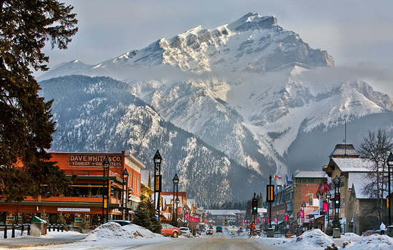Snow covered Banff town in winter