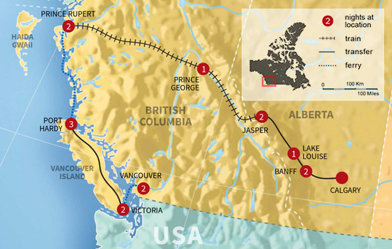 Canadian Sea To Sky Explorer – Map