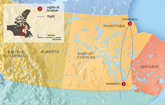 Northern Lights of Churchill  – Map
