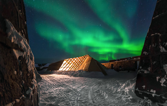 Northern Lights over the Prince of Wales Historic Site in Churchill