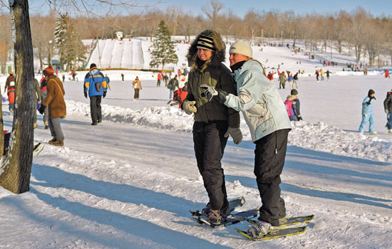 Snowshoeing at Mount Royal Park in Montreal
