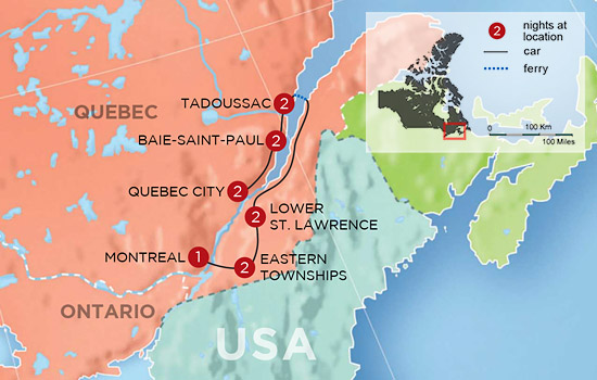 Culture and Countryside of Quebec  – Map
