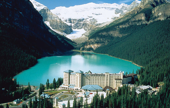 The Fairmont Chateau Lake Louise is surrounded by the forests, mountains and lakes of the Canadian Rockies