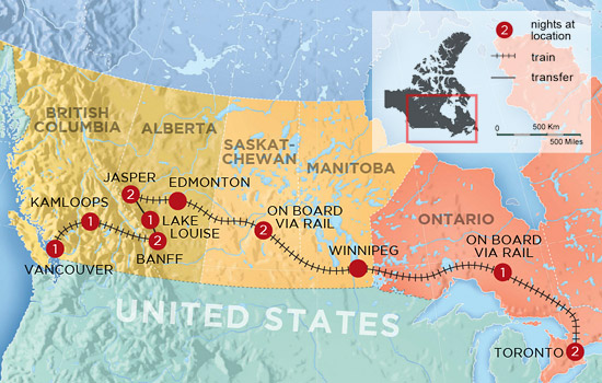 Experience Canada by Rail - Map