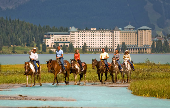 Ride on a horseback near Lake Louise