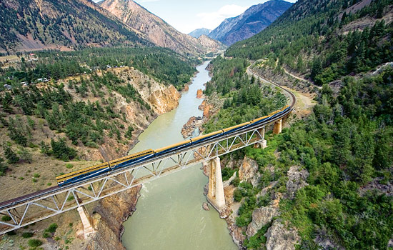 Rocky Mountaineer train travels across the Fraser Rive canyon