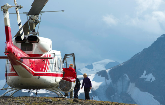 Traveling by helicopter allows access to remote areas, while accommodating all levels of experience.