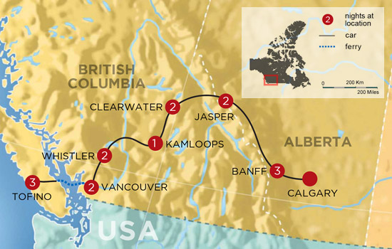 Best of The Rockies and West Coast Adventure  – Map