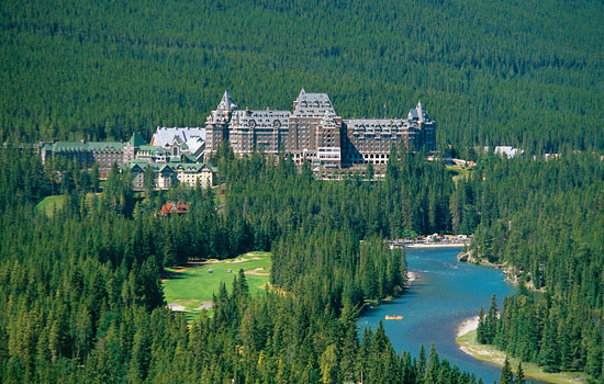 Fairmont Banff Springs in the Rockies and it's golf course by the river