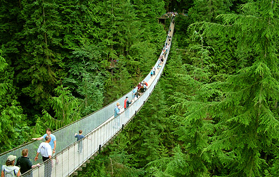 Visitors experience walking over the Capilano Suspension bridge in Vancouver