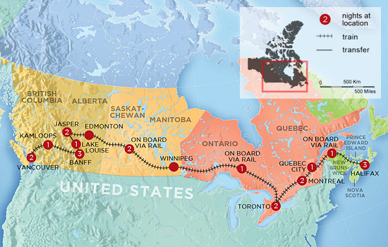 Canada Coast to Coast by Train - Map