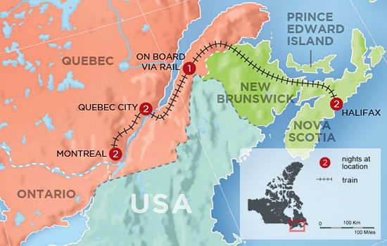 Highlights of Eastern Canada - Map