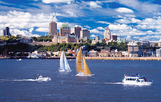 Sailboats in Quebec port and views of the city