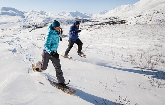 Snoweshoeing in the Yukon backcountry