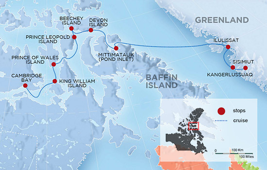 Northwest Passage and Greenland Expedition Cruise - Map