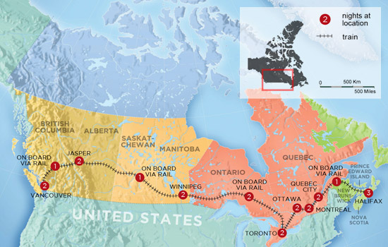 Pan Canadian Train Experience  – Map
