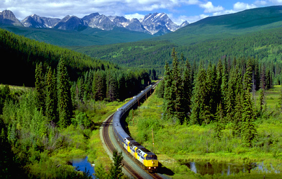 VIA Rail train in the Canadian Rockies