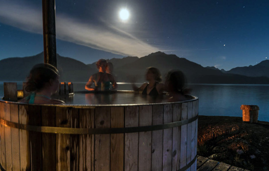 Evening hot tub