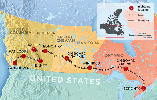 Vancouver to Toronto Train Tour – Map