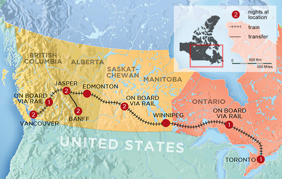 Trans Canada by Rail in Winter  – Map