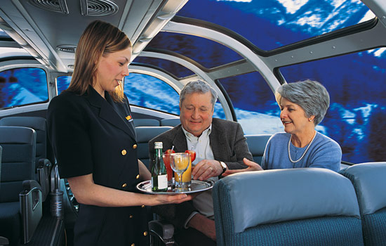 Complimentary drinks are served on the dome car of the Canadian train