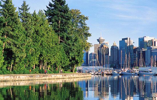 Views of Coal Harbour and downtown Vancouver and the seawall in Stanley Park