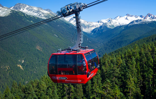 A couple admire the views from the peak to peak gondola from Whistler to Blackcomb mountain